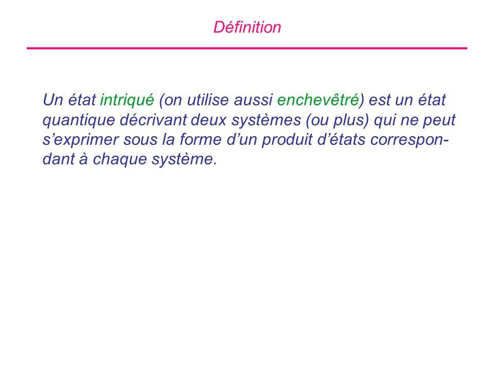 Définition Un état intriqué (on utilise aussi enchevêtré) est un état quantique décrivant deux systèmes (ou plus) qui ne peut sexprimer sous la forme