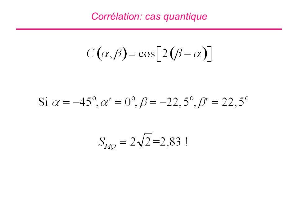 Corrélation: cas quantique
