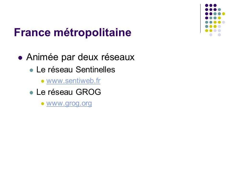 France métropolitaine Animée par deux réseaux Le réseau Sentinelles www.sentiweb.fr Le réseau GROG www.grog.org