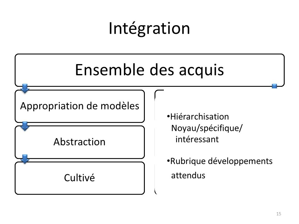 Intégration Ensemble des acquis Appropriation de modèlesAbstractionCultivéActionTransfertCompétent 15 Hiérarchisation Noyau/spécifique/ intéressant Rubrique développements attendus