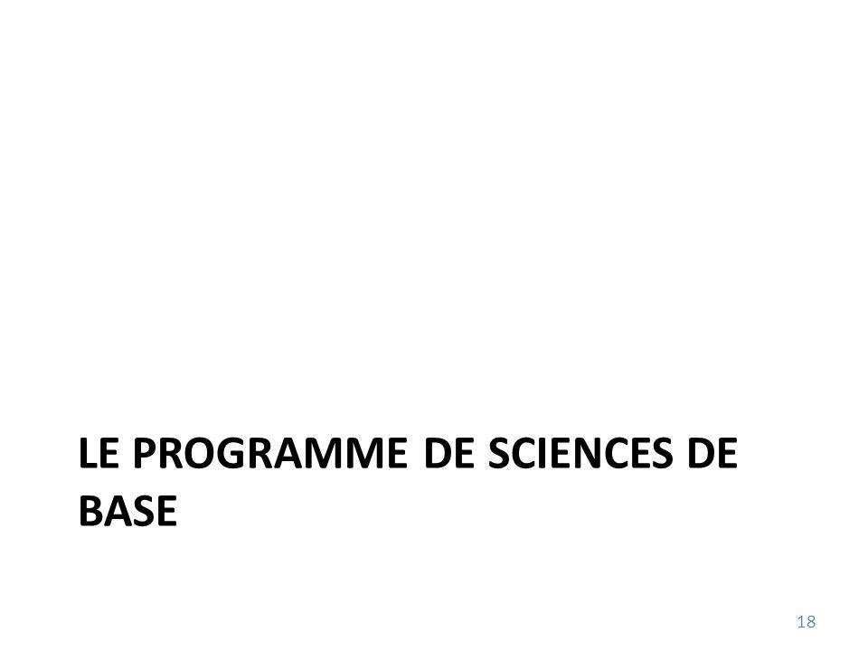 LE PROGRAMME DE SCIENCES DE BASE 18