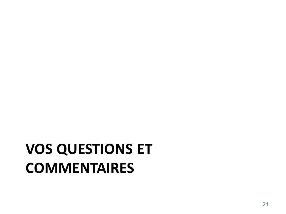VOS QUESTIONS ET COMMENTAIRES 21