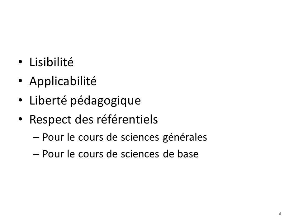 Lisibilité Applicabilité Liberté pédagogique Respect des référentiels – Pour le cours de sciences générales – Pour le cours de sciences de base 4
