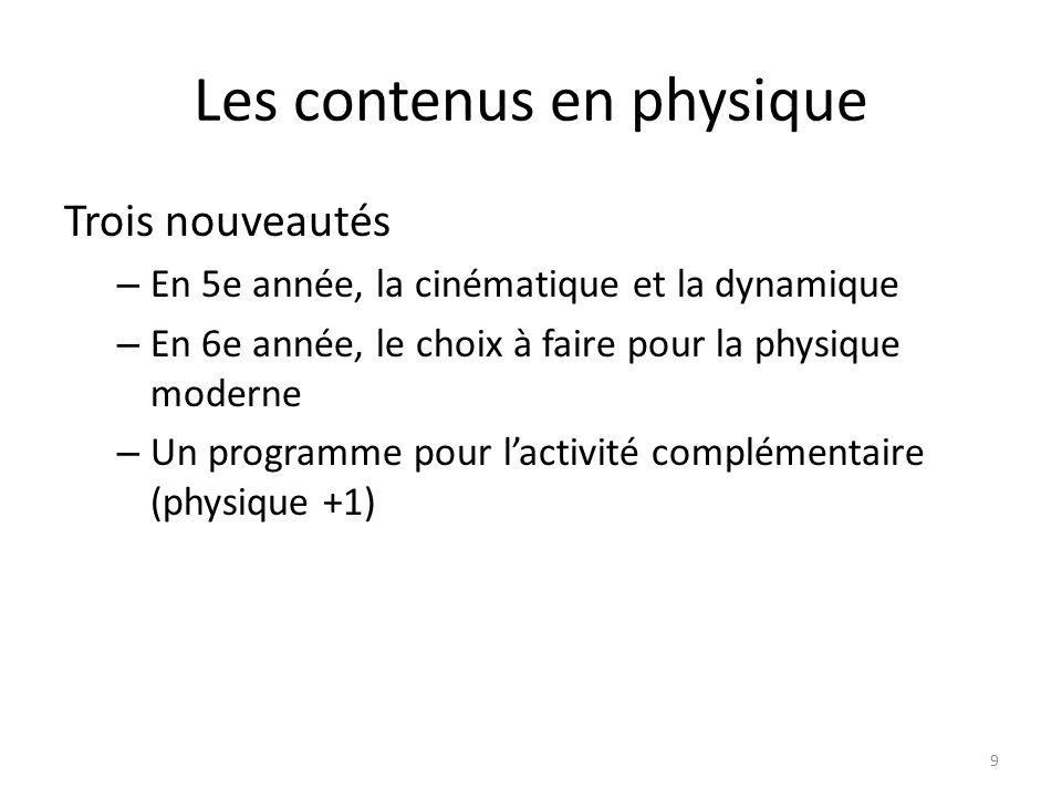 Les contenus en physique Trois nouveautés – En 5e année, la cinématique et la dynamique – En 6e année, le choix à faire pour la physique moderne – Un programme pour lactivité complémentaire (physique +1) 9