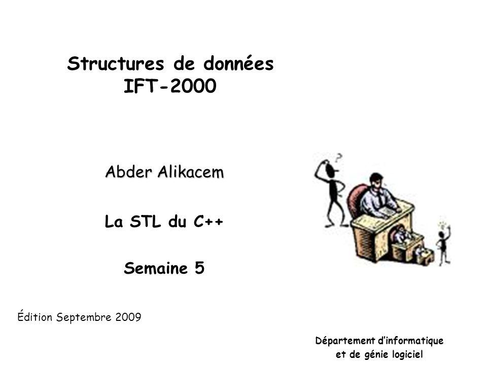 STL : Standard Template Library La STL est une bibliothèque de C++ qui permet de mettre en œuvre dautres structures de données plus complexes et de faciliter également lécriture de programmes.