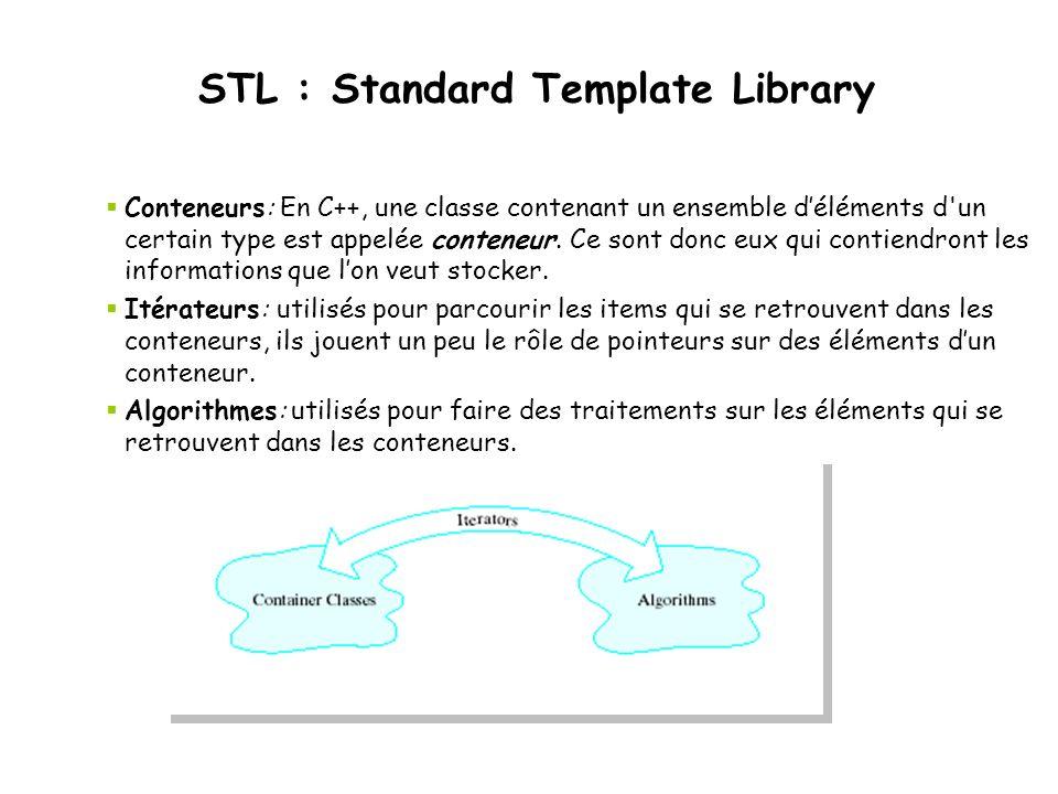 STL : Standard Template Library Conteneurs: En C++, une classe contenant un ensemble déléments d'un certain type est appelée conteneur. Ce sont donc e