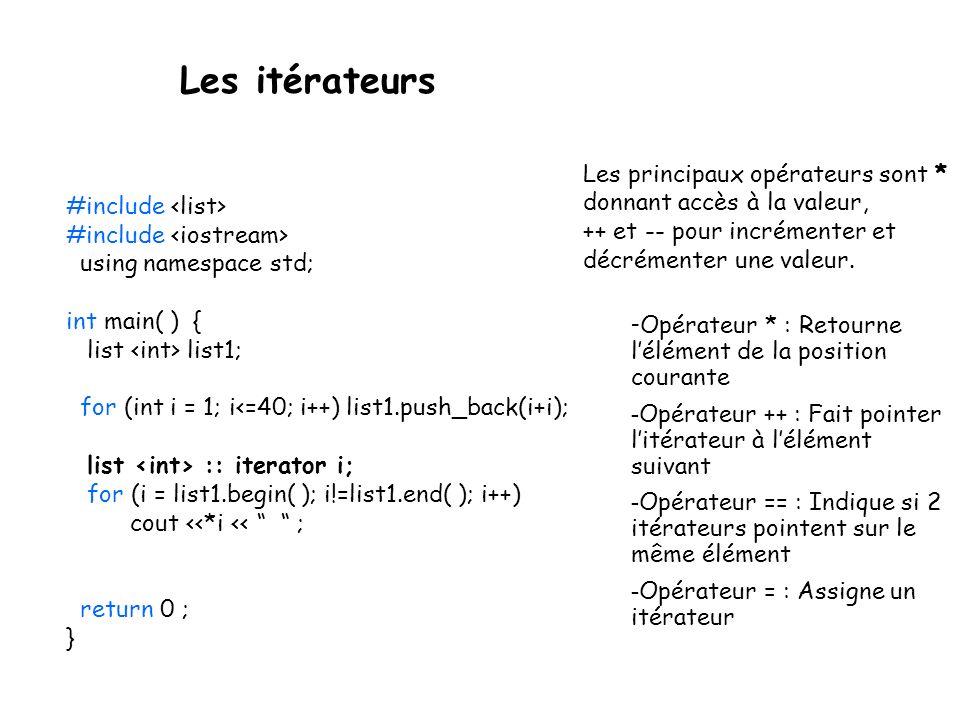 #include // création dune liste de caractères list coll; for (char c = a; c<=z; c++) coll.push_back(c); // impression de la liste à laide dun itérateur list ::const_iterator pos; for(pos = coll.begin(); pos != coll.end(); pos++) cout << *pos << ; Exemple Les itérateurs