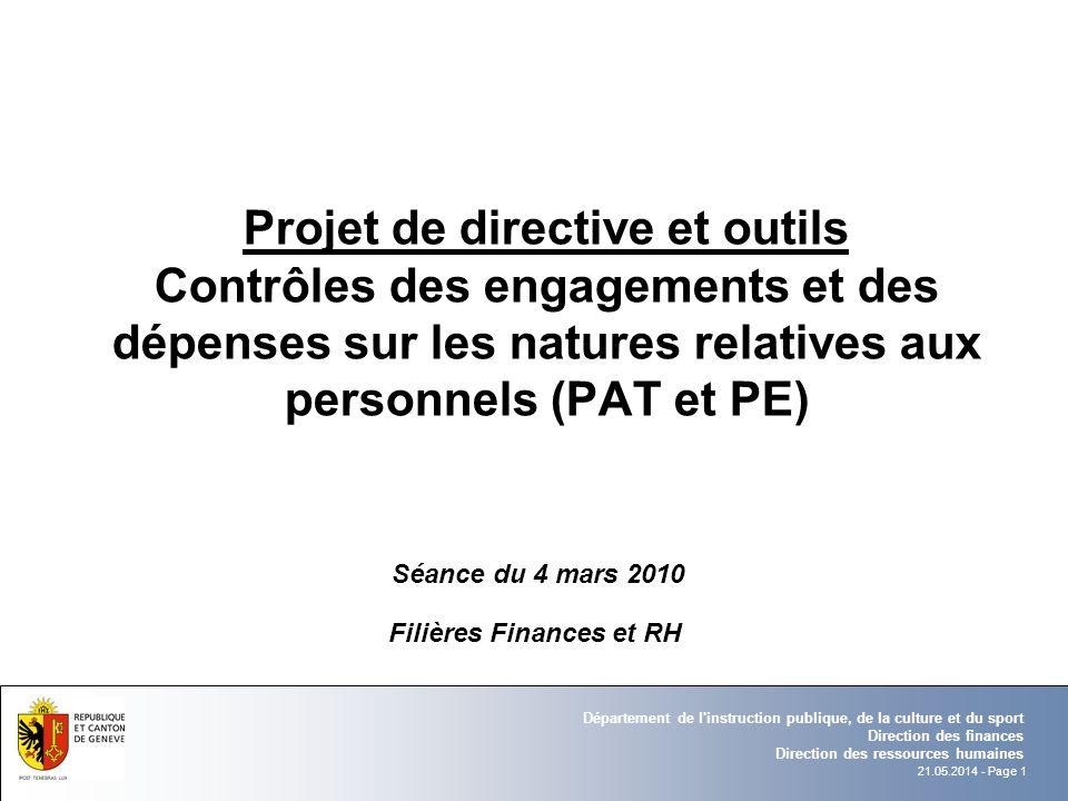 21.05.2014 - Page 1 Département de l'instruction publique, de la culture et du sport Direction des finances Direction des ressources humaines Filières