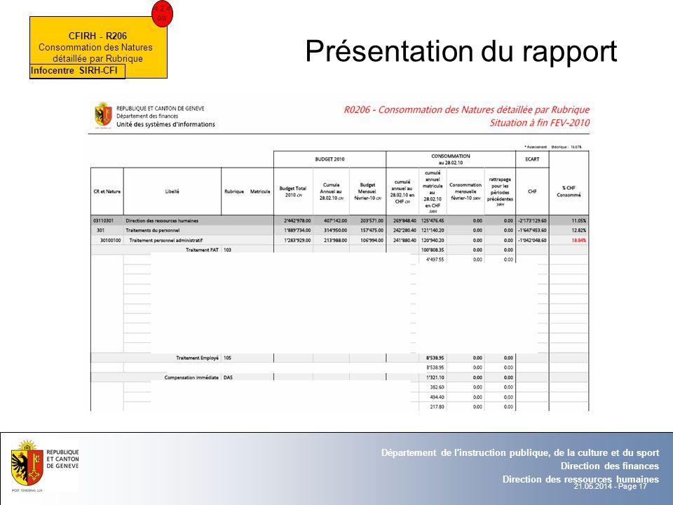 21.05.2014 - Page 17 Département de l'instruction publique, de la culture et du sport Direction des finances Direction des ressources humaines Présent