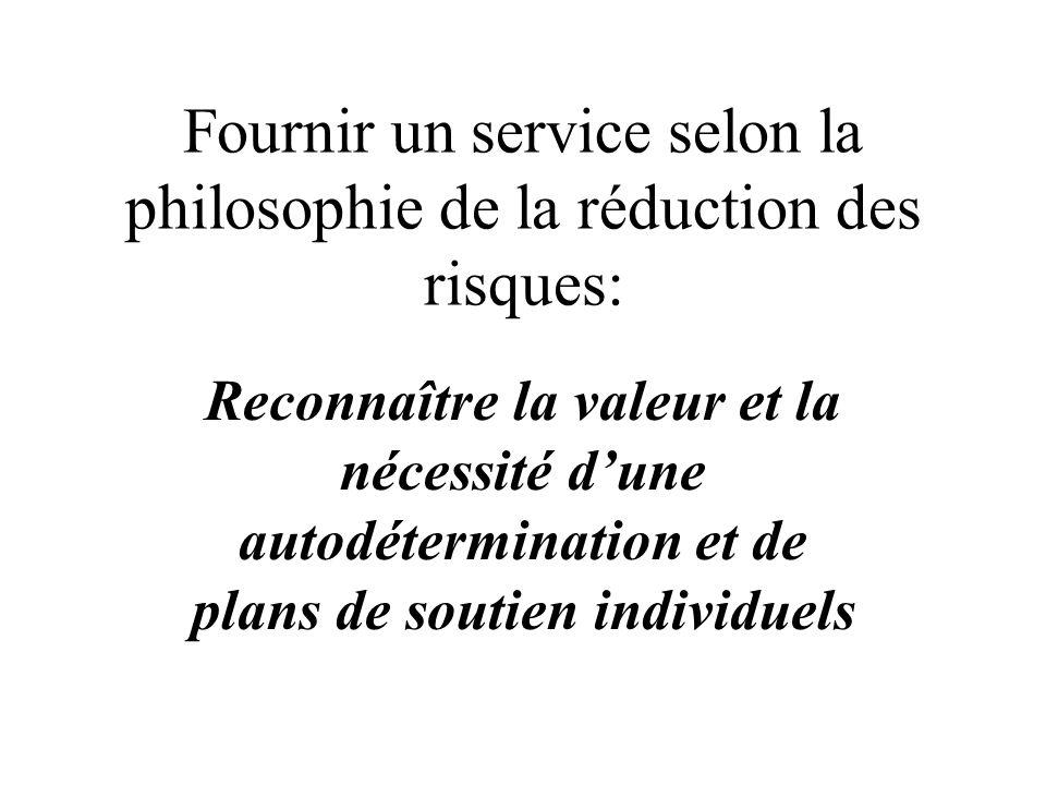 Fournir un service selon la philosophie de la réduction des risques: Reconnaître la valeur et la nécessité dune autodétermination et de plans de souti