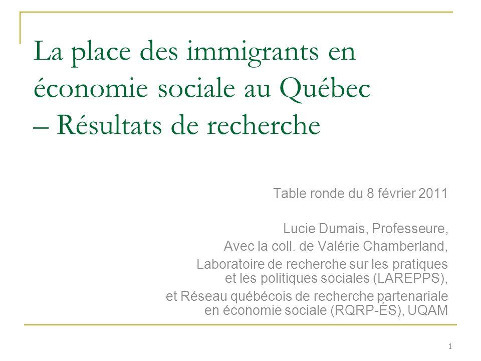 1 La place des immigrants en économie sociale au Québec – Résultats de recherche Table ronde du 8 février 2011 Lucie Dumais, Professeure, Avec la coll.