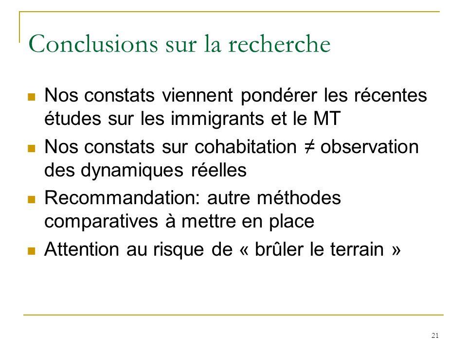21 Conclusions sur la recherche Nos constats viennent pondérer les récentes études sur les immigrants et le MT Nos constats sur cohabitation observati