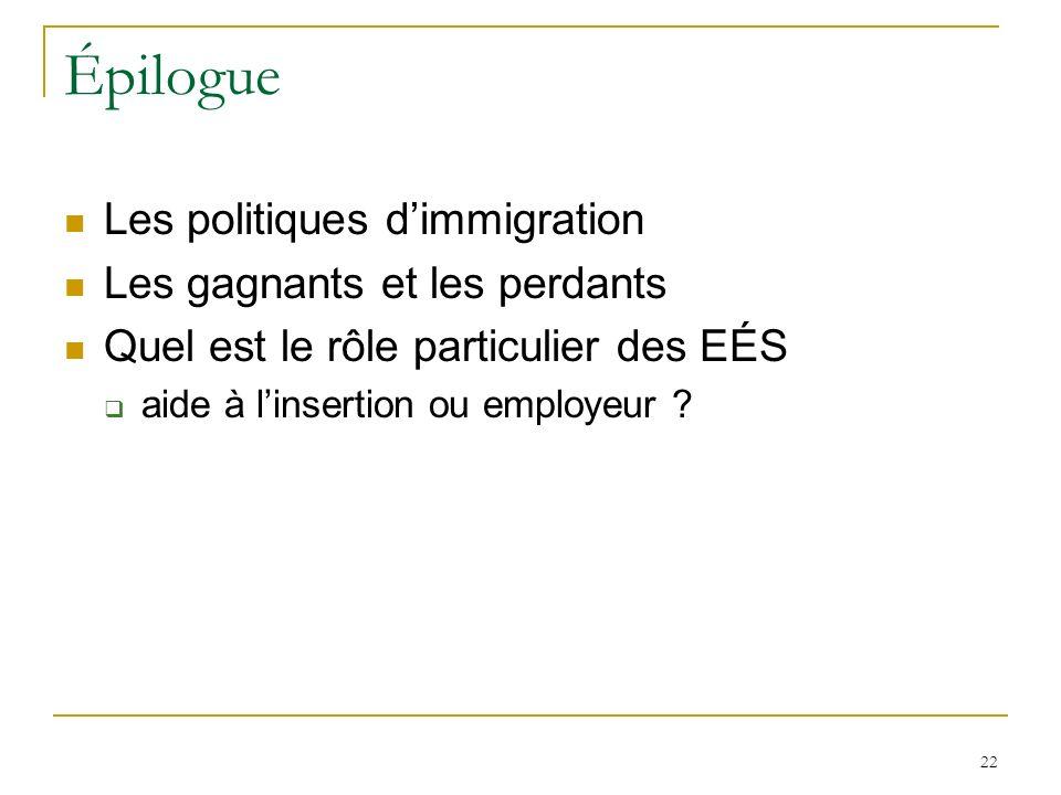 22 Épilogue Les politiques dimmigration Les gagnants et les perdants Quel est le rôle particulier des EÉS aide à linsertion ou employeur ?