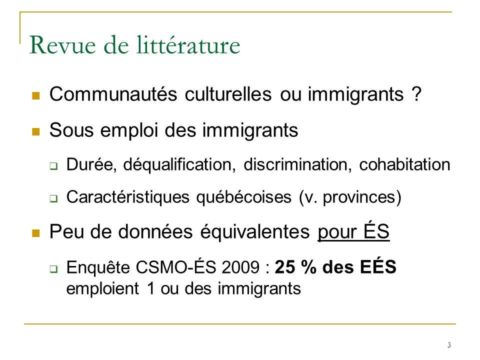 3 Revue de littérature Communautés culturelles ou immigrants ? Sous emploi des immigrants Durée, déqualification, discrimination, cohabitation Caracté