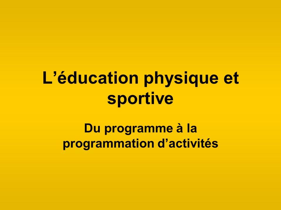 Léducation physique et sportive Du programme à la programmation dactivités