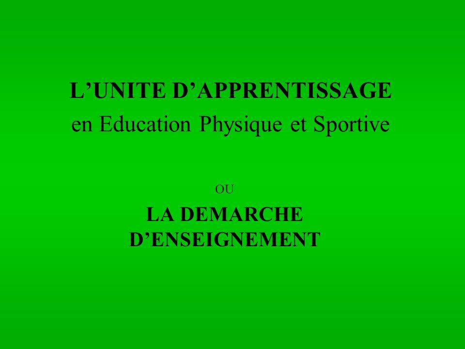 LUNITE DAPPRENTISSAGE en Education Physique et Sportive OU LA DEMARCHE DENSEIGNEMENT
