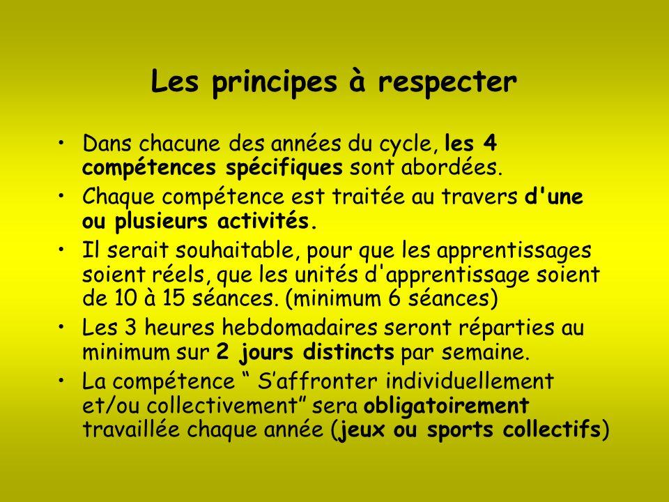Les principes à respecter Dans chacune des années du cycle, les 4 compétences spécifiques sont abordées. Chaque compétence est traitée au travers d'un