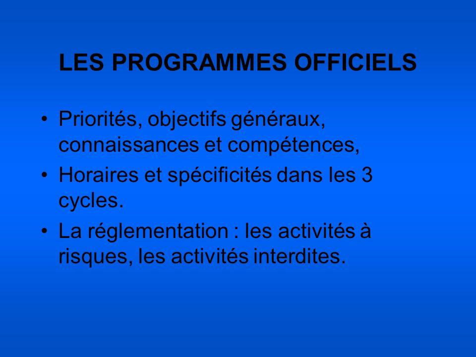 LES PROGRAMMES OFFICIELS Priorités, objectifs généraux, connaissances et compétences, Horaires et spécificités dans les 3 cycles. La réglementation :