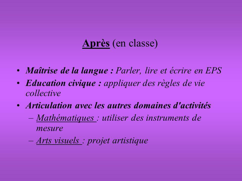 Après (en classe) Maîtrise de la langue : Parler, lire et écrire en EPS Education civique : appliquer des règles de vie collective Articulation avec l