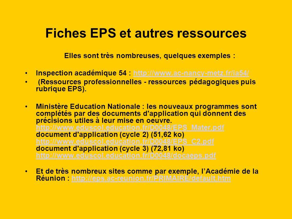 Fiches EPS et autres ressources Elles sont très nombreuses, quelques exemples : Inspection académique 54 : http://www.ac-nancy-metz.fr/ia54/http://www