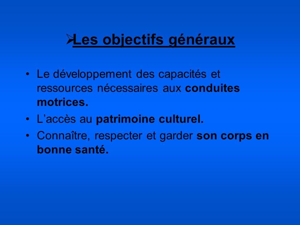Les objectifs généraux Le développement des capacités et ressources nécessaires aux conduites motrices. Laccès au patrimoine culturel. Connaître, resp