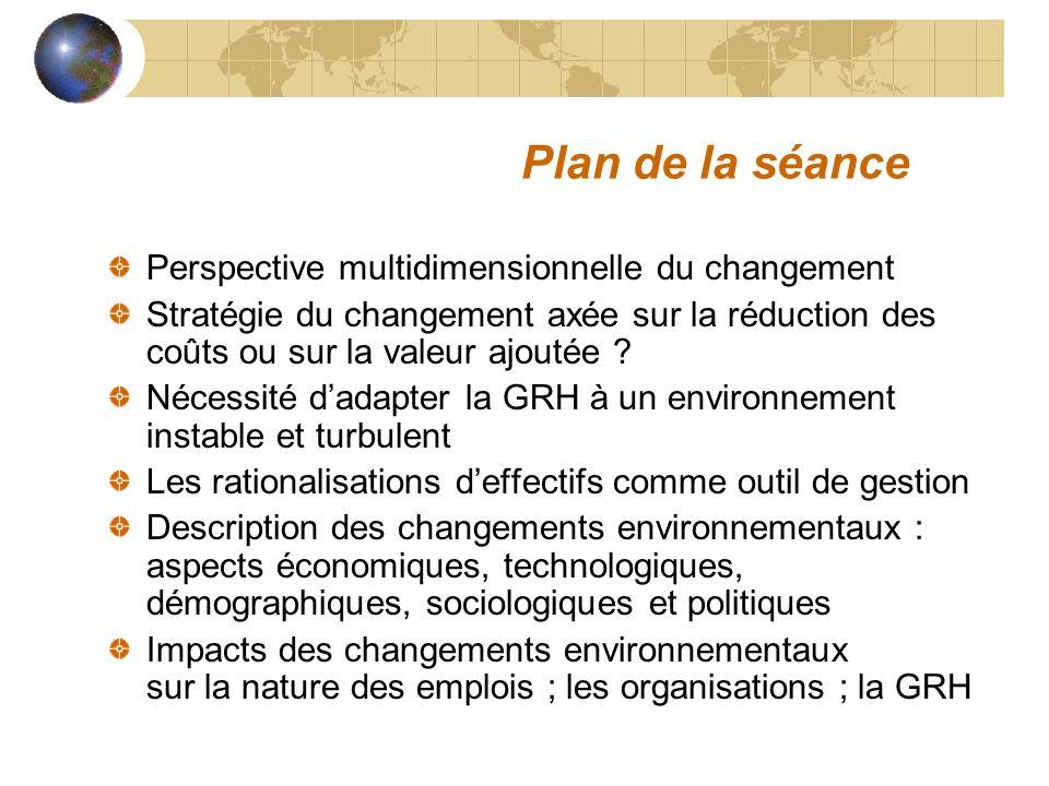 Plan de la séance Perspective multidimensionnelle du changement Stratégie du changement axée sur la réduction des coûts ou sur la valeur ajoutée ? Néc