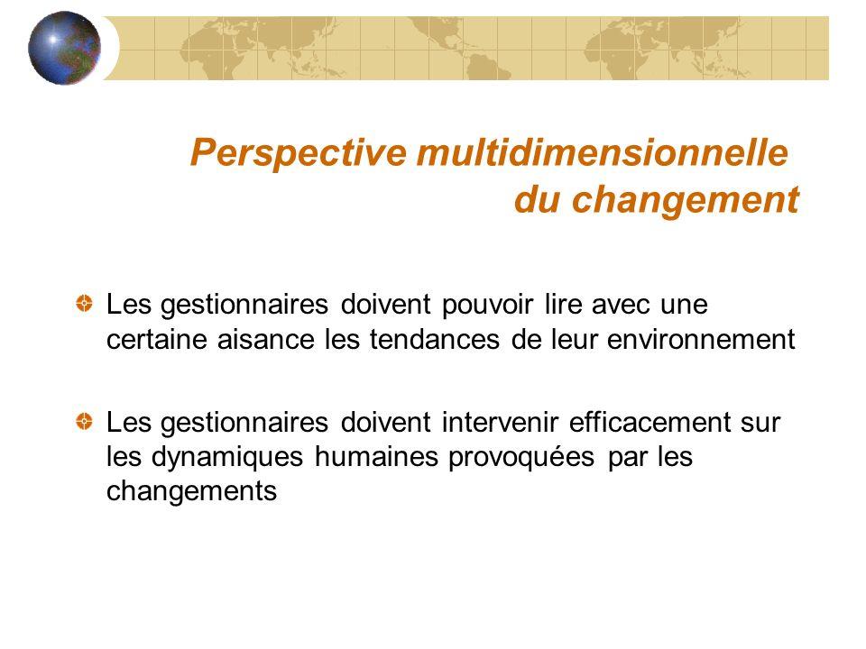 Perspective multidimensionnelle du changement Les gestionnaires doivent pouvoir lire avec une certaine aisance les tendances de leur environnement Les