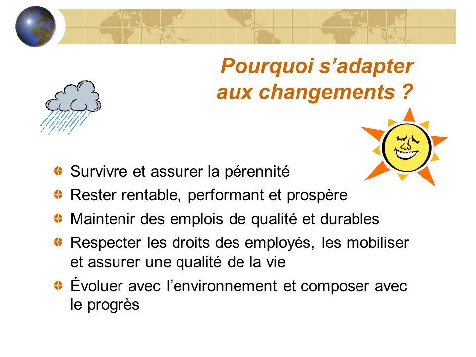Pourquoi sadapter aux changements ? Survivre et assurer la pérennité Rester rentable, performant et prospère Maintenir des emplois de qualité et durab