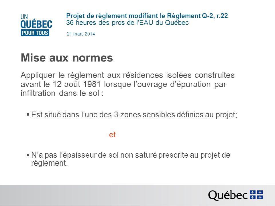 Projet de règlement modifiant le Règlement Q-2, r.22 36 heures des pros de lEAU du Québec 21 mars 2014 Mise aux normes Appliquer le règlement aux résidences isolées construites avant le 12 août 1981 lorsque louvrage dépuration par infiltration dans le sol : Est situé dans lune des 3 zones sensibles définies au projet; et Na pas lépaisseur de sol non saturé prescrite au projet de règlement.