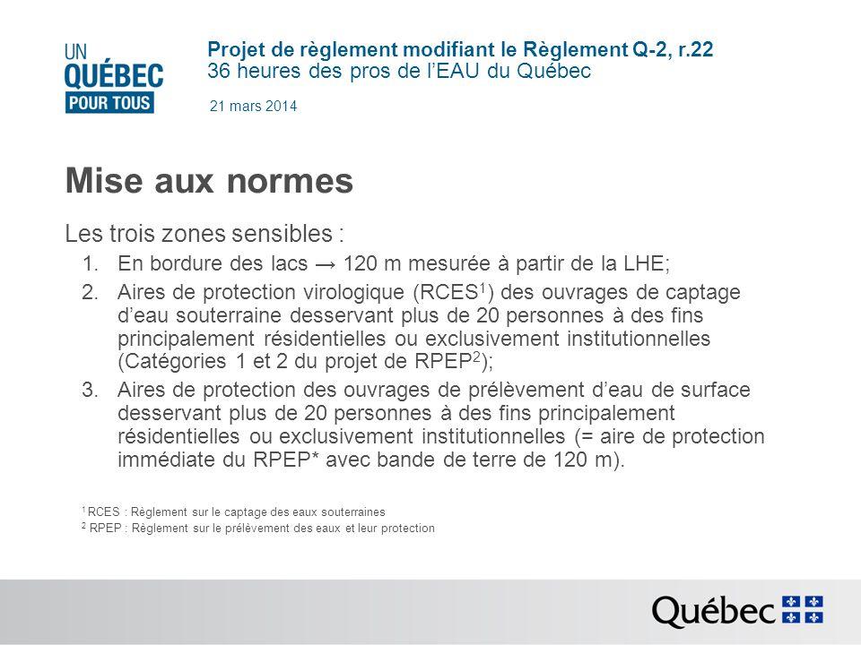 Projet de règlement modifiant le Règlement Q-2, r.22 36 heures des pros de lEAU du Québec 21 mars 2014 Mise aux normes Les trois zones sensibles : 1.En bordure des lacs 120 m mesurée à partir de la LHE; 2.Aires de protection virologique (RCES 1 ) des ouvrages de captage deau souterraine desservant plus de 20 personnes à des fins principalement résidentielles ou exclusivement institutionnelles (Catégories 1 et 2 du projet de RPEP 2 ); 3.Aires de protection des ouvrages de prélèvement deau de surface desservant plus de 20 personnes à des fins principalement résidentielles ou exclusivement institutionnelles (= aire de protection immédiate du RPEP* avec bande de terre de 120 m).
