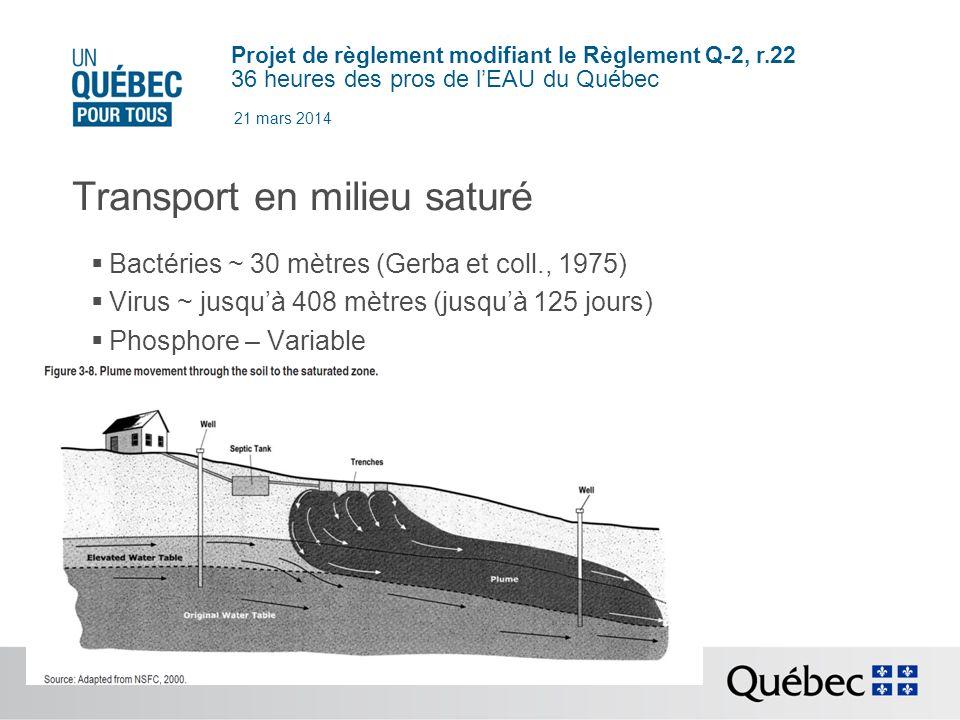 Projet de règlement modifiant le Règlement Q-2, r.22 36 heures des pros de lEAU du Québec 21 mars 2014 Transport en milieu saturé Bactéries ~ 30 mètres (Gerba et coll., 1975) Virus ~ jusquà 408 mètres (jusquà 125 jours) Phosphore – Variable