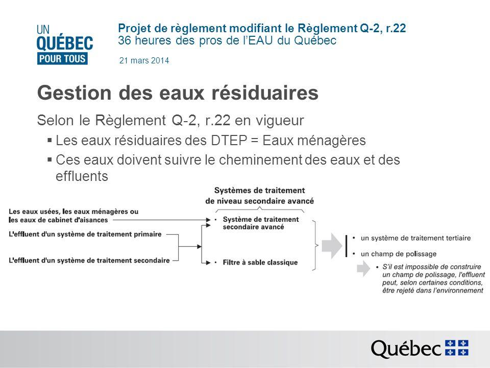 Projet de règlement modifiant le Règlement Q-2, r.22 36 heures des pros de lEAU du Québec 21 mars 2014 Gestion des eaux résiduaires Selon le Règlement Q-2, r.22 en vigueur Les eaux résiduaires des DTEP = Eaux ménagères Ces eaux doivent suivre le cheminement des eaux et des effluents