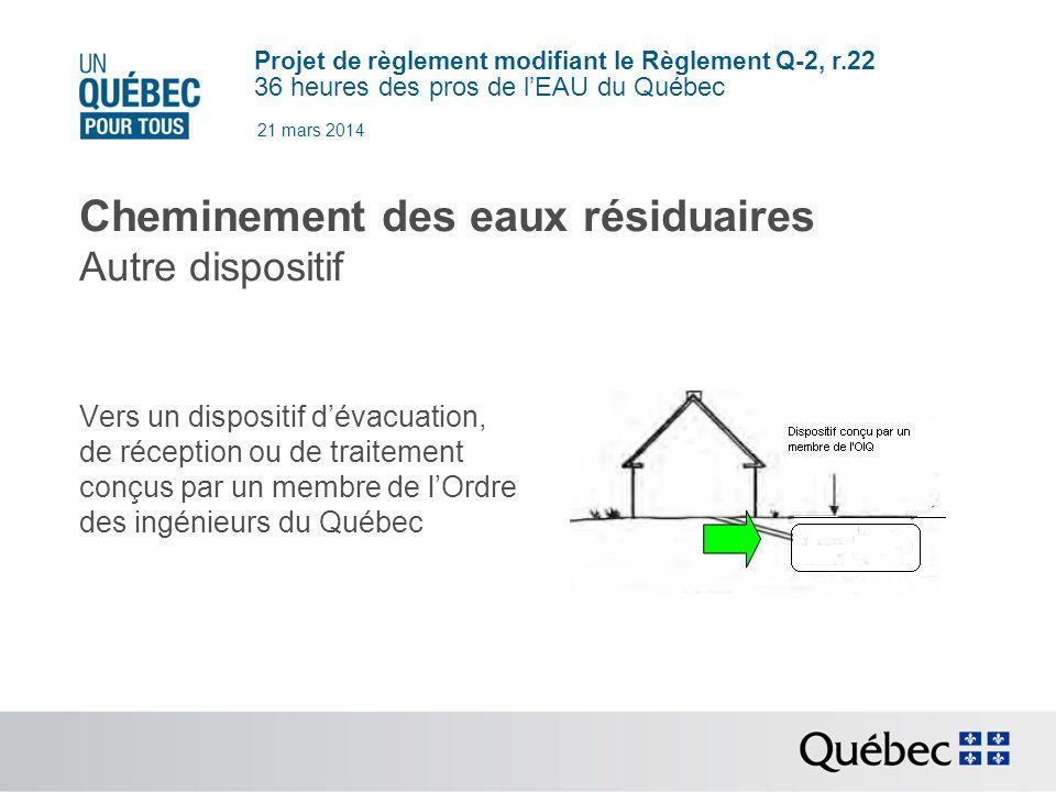 Projet de règlement modifiant le Règlement Q-2, r.22 36 heures des pros de lEAU du Québec 21 mars 2014 Cheminement des eaux résiduaires Autre dispositif Vers un dispositif dévacuation, de réception ou de traitement conçus par un membre de lOrdre des ingénieurs du Québec