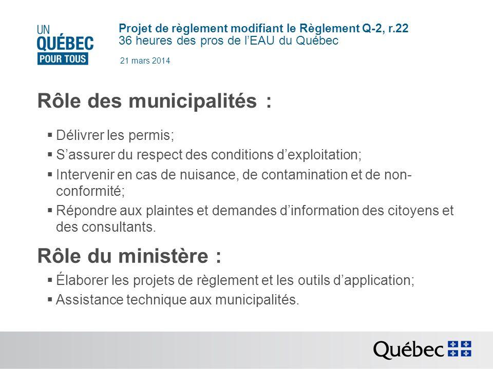 Projet de règlement modifiant le Règlement Q-2, r.22 36 heures des pros de lEAU du Québec 21 mars 2014 3.2.