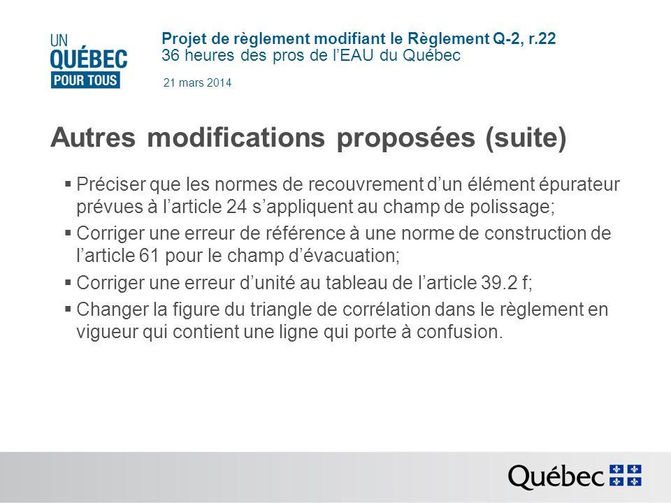 Projet de règlement modifiant le Règlement Q-2, r.22 36 heures des pros de lEAU du Québec 21 mars 2014 Autres modifications proposées (suite) Préciser que les normes de recouvrement dun élément épurateur prévues à larticle 24 sappliquent au champ de polissage; Corriger une erreur de référence à une norme de construction de larticle 61 pour le champ dévacuation; Corriger une erreur dunité au tableau de larticle 39.2 f; Changer la figure du triangle de corrélation dans le règlement en vigueur qui contient une ligne qui porte à confusion.