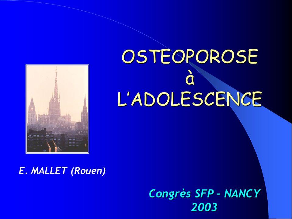 Ostéocalcine sérique avant et en cours de renutrition dans lanorexie mentale de ladolescent J0J10J30J45témoins Ostéocalcine11.9*14.815.6 30.7 11 Transthyretine0.25*0.270.350.32 0.3 0.05 * p = 0.01 entre J0, J 30 et témoins GFHGNP - Nancy 1995.