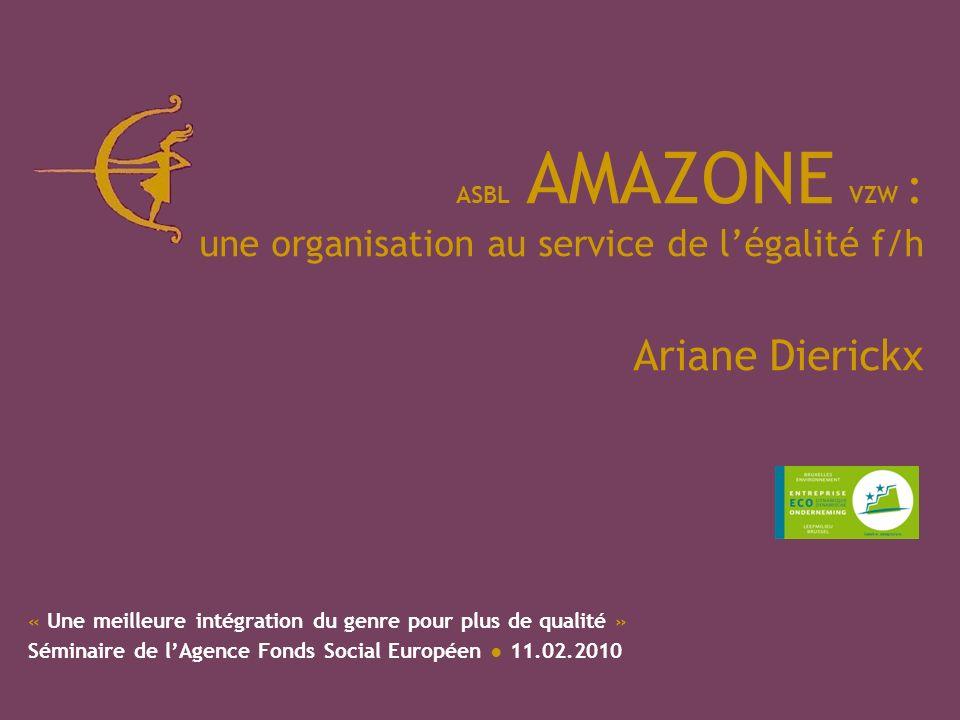 ASBL AMAZONE VZW : une organisation au service de légalité f/h Ariane Dierickx « Une meilleure intégration du genre pour plus de qualité » Séminaire de lAgence Fonds Social Européen 11.02.2010
