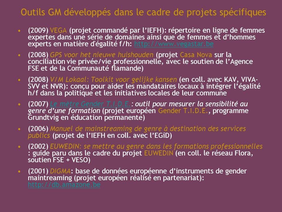 Outils GM développés dans le cadre de projets spécifiques (2009) VEGA (projet commandé par lIEFH): répertoire en ligne de femmes expertes dans une série de domaines ainsi que de femmes et dhommes experts en matière d égalité f/h: http://www.vegastar.behttp://www.vegastar.be (2008) GPS voor het nieuwe huishouden (projet Casa Nova sur la conciliation vie privée/vie professionnelle, avec le soutien de lAgence FSE et de la Communauté flamande) (2008) V/M Lokaal: Toolkit voor gelijke kansen (en coll.