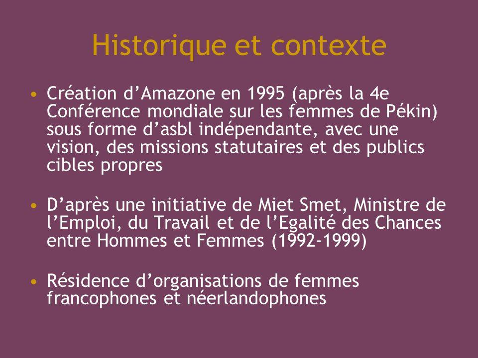 Historique et contexte Création dAmazone en 1995 (après la 4e Conférence mondiale sur les femmes de Pékin) sous forme dasbl indépendante, avec une vis