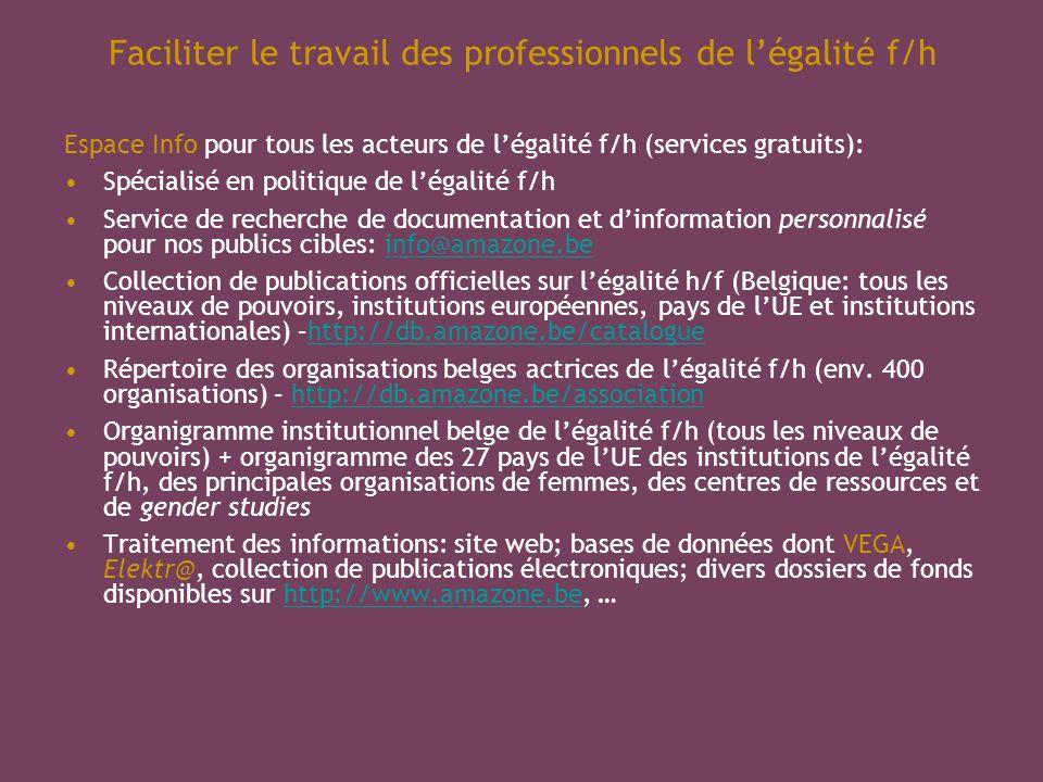 Faciliter le travail des professionnels de légalité f/h Espace Info pour tous les acteurs de légalité f/h (services gratuits): Spécialisé en politique