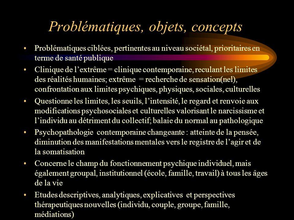 Problématiques, objets, concepts Problématiques ciblées, pertinentes au niveau sociétal, prioritaires en terme de santé publique Clinique de lextrême
