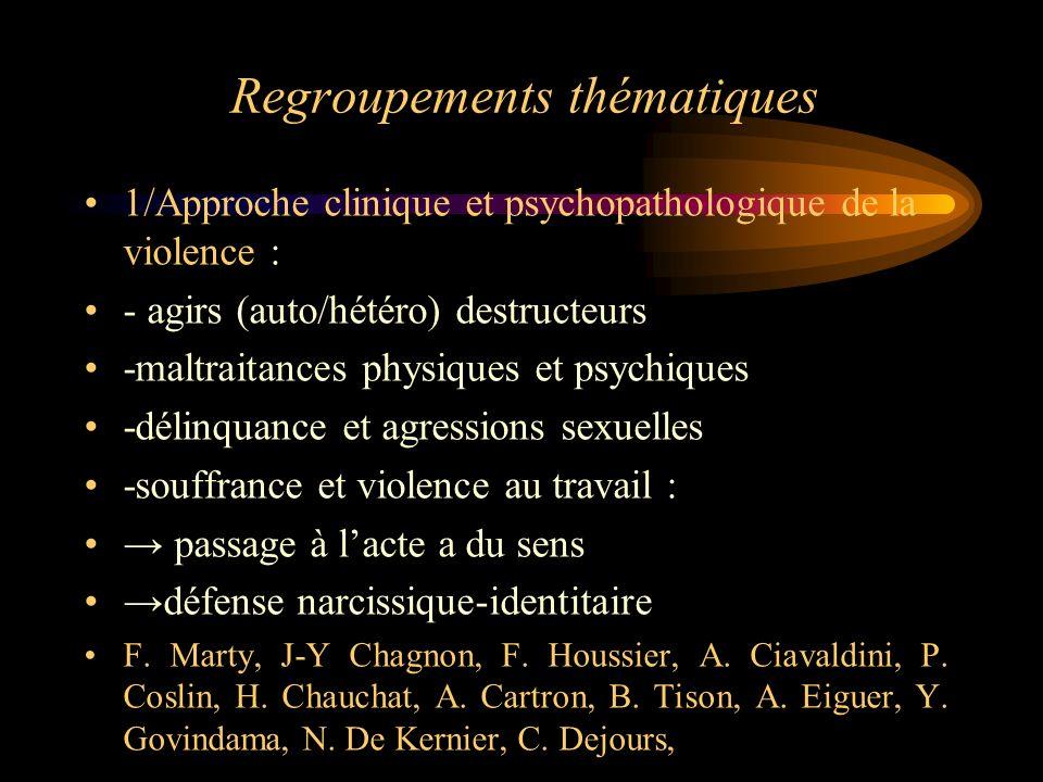 Regroupements thématiques 1/Approche clinique et psychopathologique de la violence : - agirs (auto/hétéro) destructeurs -maltraitances physiques et ps
