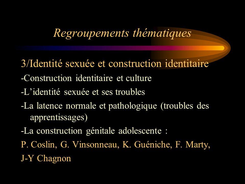Regroupements thématiques 3/Identité sexuée et construction identitaire -Construction identitaire et culture -Lidentité sexuée et ses troubles -La lat