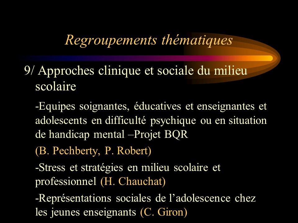 Regroupements thématiques 9/ Approches clinique et sociale du milieu scolaire -Equipes soignantes, éducatives et enseignantes et adolescents en diffic