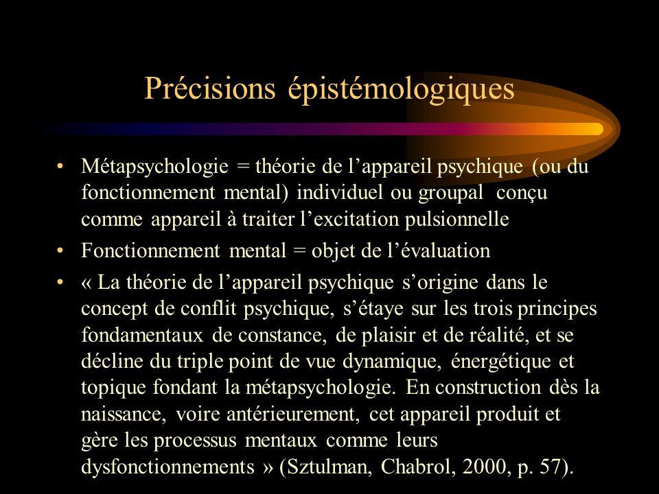 Précisions épistémologiques Métapsychologie = théorie de lappareil psychique (ou du fonctionnement mental) individuel ou groupal conçu comme appareil