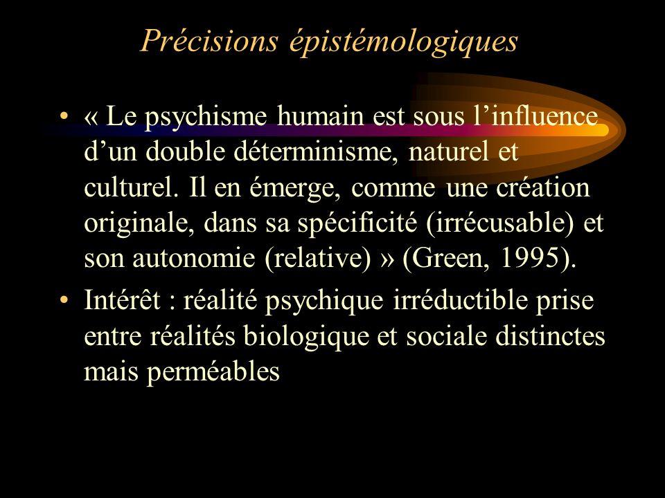 Précisions épistémologiques « Le psychisme humain est sous linfluence dun double déterminisme, naturel et culturel. Il en émerge, comme une création o