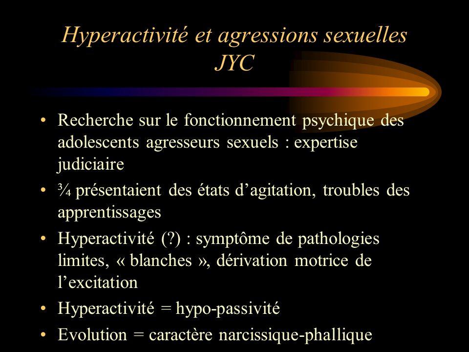 Hyperactivité et agressions sexuelles JYC Recherche sur le fonctionnement psychique des adolescents agresseurs sexuels : expertise judiciaire ¾ présen