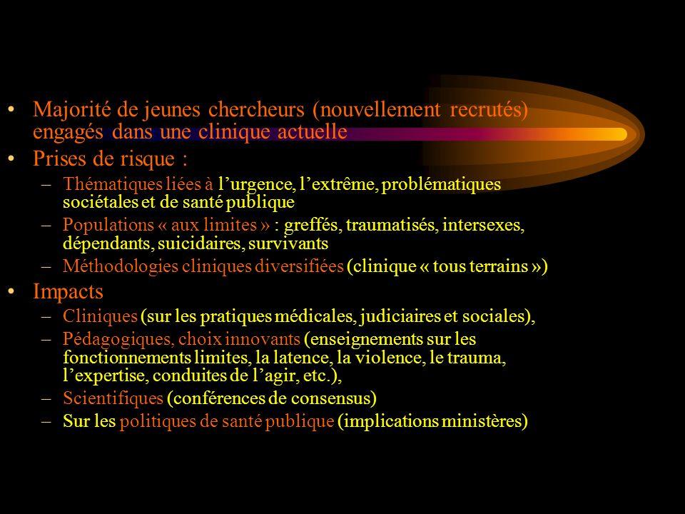 Participation à des projets communs avec dautres structures de recherche - Projet BQR avec léquipe 3 du LPCP et les Sciences de léducation (Paris Descartes) - Projet ANR avec léquipe 3 du LPCP en collaboration avec lUnité INSERM U669 Insertion et liens - Dans le domaine de la santé et de la médecine (services hospitaliers), de la justice (expertise), de léducation (psychologie scolaire, formation des maîtres), du travail (CNAM) - Relations étroites avec le Collège International de lAdolescence (CILA) -Réseaux internationaux