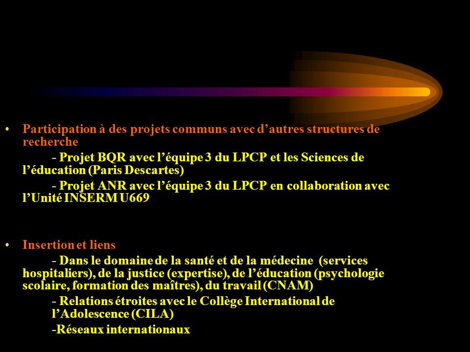 Participation à des projets communs avec dautres structures de recherche - Projet BQR avec léquipe 3 du LPCP et les Sciences de léducation (Paris Desc