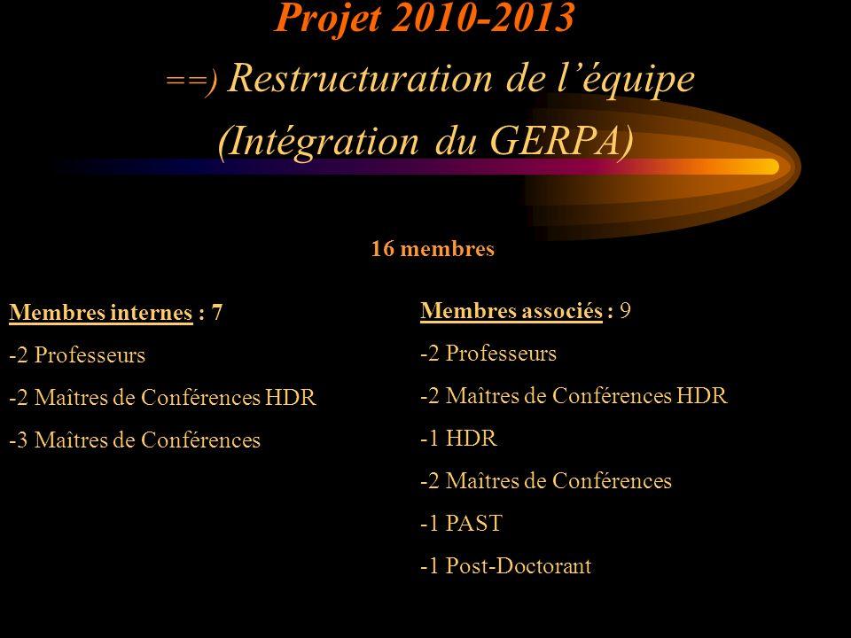 Projet 2010-2013 ==) Restructuration de léquipe (Intégration du GERPA) 16 membres Membres internes : 7 -2 Professeurs -2 Maîtres de Conférences HDR -3